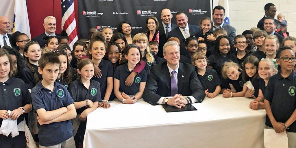 Warren-Prescott students with Governor Baker