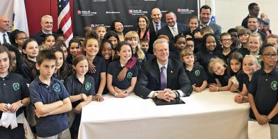 Warren-Prescott students with Governor Baker