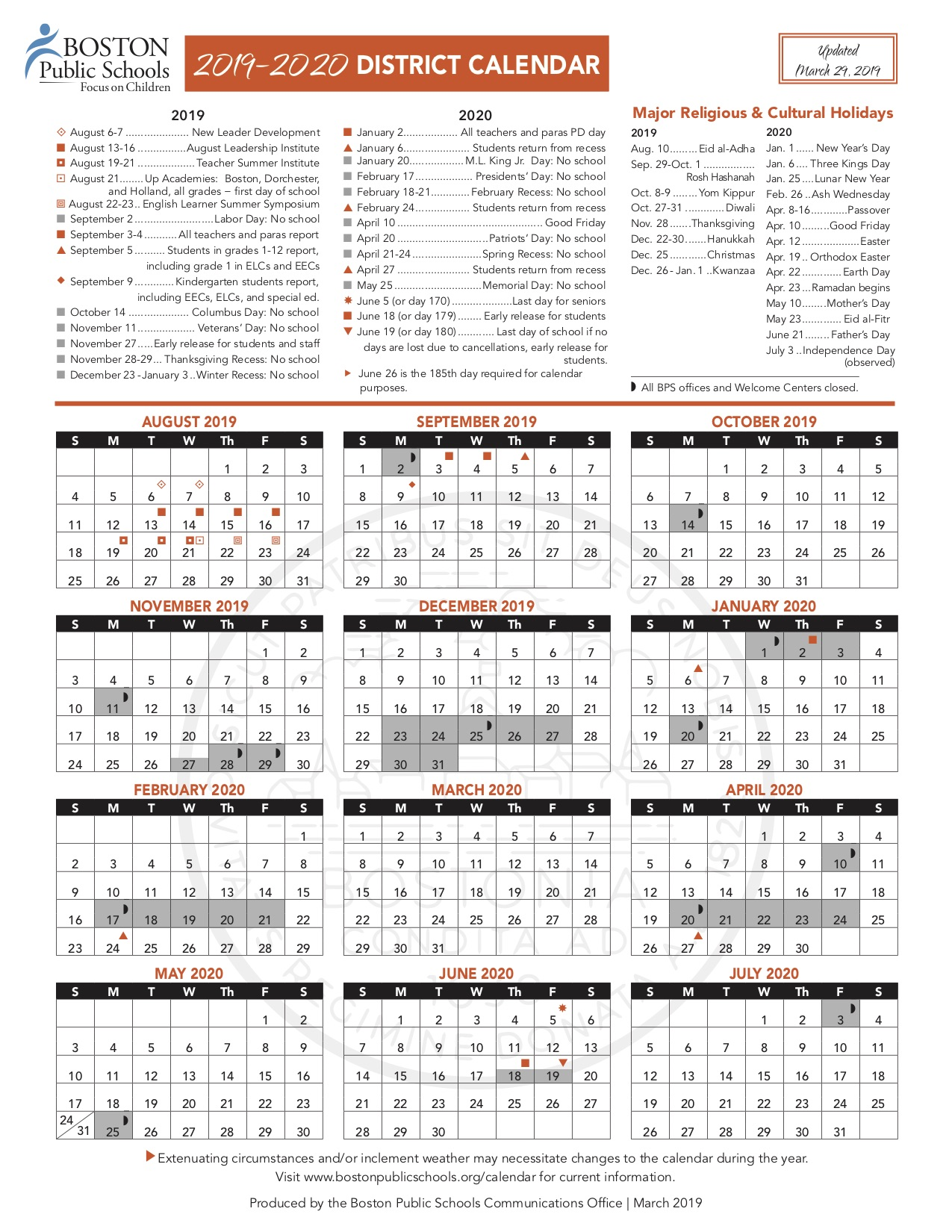 Bps Calendar 2020 District Calendar – Warren Prescott School